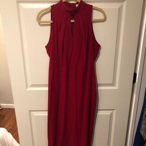 Red midi dress.
